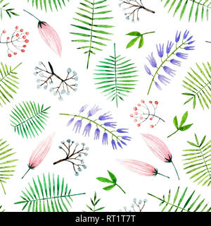 Hand painted watercolor seamless pattern with flowers and leaves. Beautiful and gentle botanical seamless pattern isolated on white background for you - Stock Photo