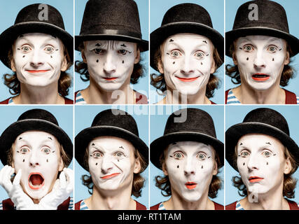 Photo collage of different human emotions made by pantomime with painted face on the blue background - Stock Photo
