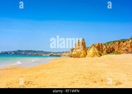 Beach Praia da Rocha in Portimao, Algarve, Portugal - Stock Photo