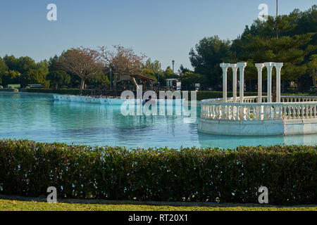Boating Pond, artificial lake in la Batería park. Torremolinos, Málaga, Spain. - Stock Photo