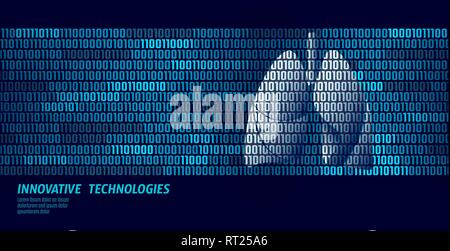 Healthy lungs respiratory internal organs. Binary code data flow. Doctor online innovative technology vector illustration - Stock Photo