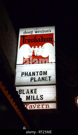 WEST HOLLYWOOD, CA - JUNE 14: A general view of marquee at Phantom Planet Concert on June 14, 2012 at the The Troubadour in West Hollywood, California. Photo by Barry King/Alamy Stock Photo - Stock Photo