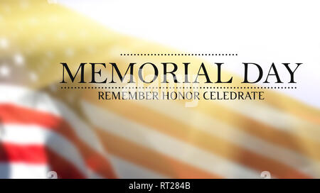 Memorial Day - Remember and honor with USA flag - Stock Photo