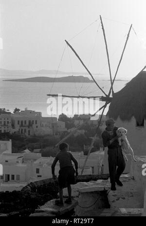 Griechenland, Greece - In einer kleinen griechischen Hafenstadt mit den charakteristischen Windmühlen spielen zwei Jungen mit einem Hund.Two boys playing with a dog i a Greek harbour village. - Stock Photo