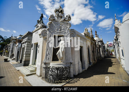 Buenos Aires, Argentina - Sept 23, 2016: View of the tomb of Rufina Cambaceres (center) at the La Recoleta Cemetery in Capital Federal. - Stock Photo