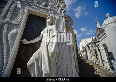 Buenos Aires, Argentina - Sept 23, 2016: Close up view of the tomb of Rufina Cambaceres at the La Recoleta Cemetery in Capital Federal. - Stock Photo