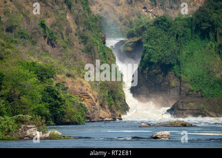 Murchison Falls from the Victoria Nile in Murchison Falls National Park, Northern Uganda, East Africa - Stock Photo