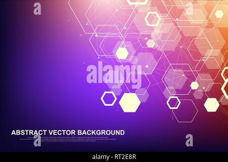 Abstract hexagonal background. Futuristic technology background in science style. Graphic hex background for your design. Vector illustration - Stock Photo