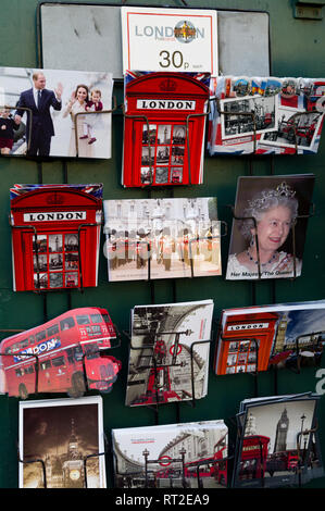 Postcards of Royals and iconic symbols for sale in London, UK - Stock Photo
