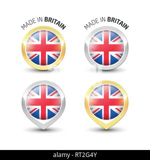 Made in Britain UK - Guarantee label with the flag of the United Kingdom inside round gold and silver icons. - Stock Photo