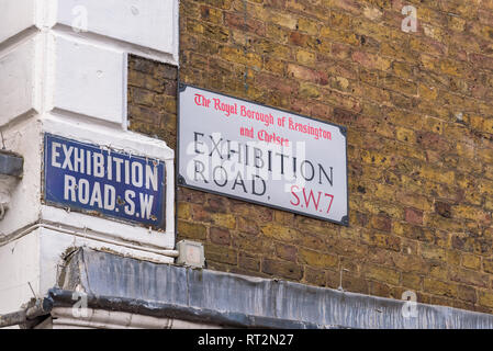 Exhibition Road SW7 sign in South Kensington. Royal Borough of Kensington and Chelsea, London, England. - Stock Photo