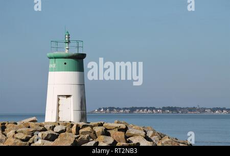 Pornichet lighthouse in the bay of La Baule in Loire Atlantique, Pays de la Loire region, France - Stock Photo