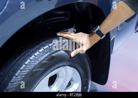 checking air pressure air car tire - Image - Stock Photo