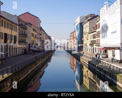 MILAN, ITALY-FEBRUARY 15, 2019: Naviglio Grande canal and architecture next to it in the sunny day Stock Photo