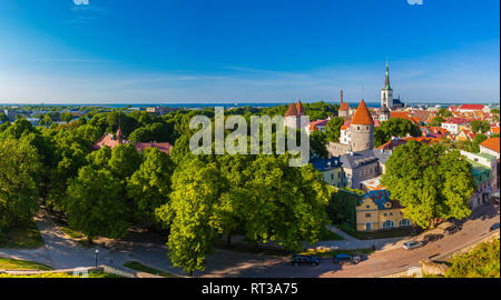 Panoramic view of cityscape of old town Tallinn city at summer day, Estonia. - Stock Photo