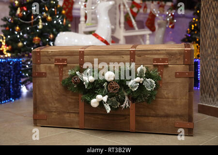 close up. wooden chest with Christmas gifts - Stock Photo