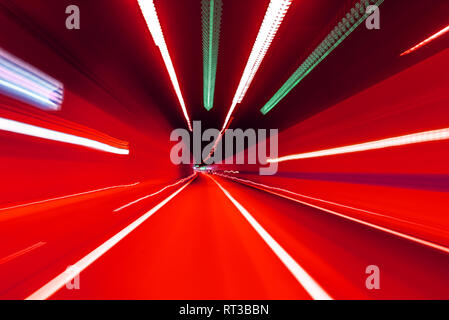 Road in an underground tunnel. Motion blur. - Stock Photo