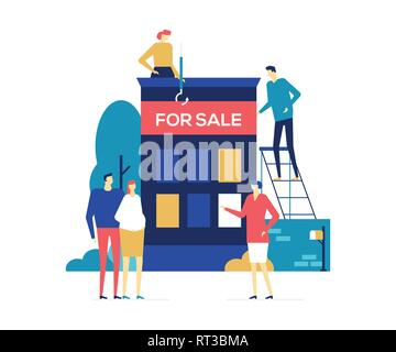 House for sale - colorful flat design style illustration - Stock Photo