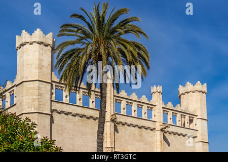 historic storehouse La Llotja or Llotja dels Mercaders in old town of Palma de Mallorca, Mallorca, Balearic Islands, Spain - Stock Photo