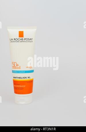 Sunscreen lotion. La Roche-Posay. France - Stock Photo