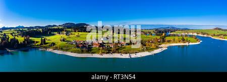 Germany, Bavaria, East Allgaeu, Fuessen, Schwangau, Dietringen, Aerial view of Lake Forggensee - Stock Photo