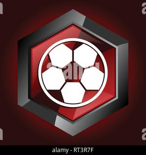 Hexagonal glossy dark red and black web football icon, vector soccer  illustration in eps 10 - Stock Photo