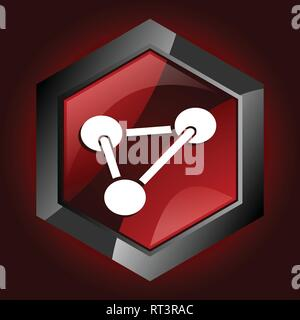 Hexagonal glossy dark red and black web science icon, vector illustration in eps 10 - Stock Photo