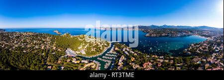 Spain, Baleares, Mallorca, Calvia region, Aerial view of Santa ponca, Marina, Serra de Tramuntana in the background - Stock Photo