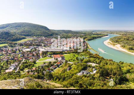 Hainburg vom Braunsberg, Donau, Niederösterreich Stock Photo