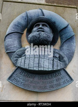 Memorial to Coxswain Henry Freeman at the lifeboat station in the seaside town of Whitby, North Yorkshire - Stock Photo