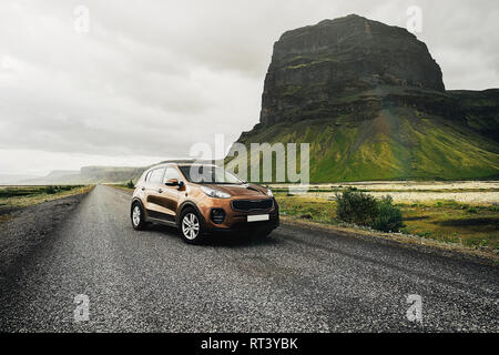 SUV car. Travel concept with big 4x4 sport and modern car in mountains. Iceland.  - Stock Photo