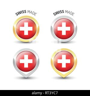 Swiss made - Guarantee label with the flag of Switzerland inside round gold and silver icons. - Stock Photo