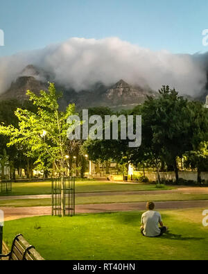 Looking up at a clouded Table Mountain from Company's Garden,  Cape Town, South Africa - Stock Photo