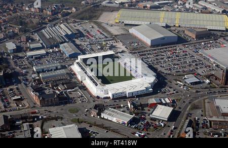 aerial view of the Halliwell Jones Stadium, Warrington - Stock Photo