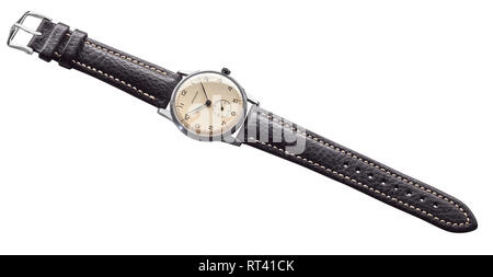 Dominant 1950s wind up Swiss made watch with new leather strap - Stock Photo
