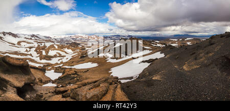 Panoramic view of Askja caldera, a popular tourist destination at Highlands of Iceland, Scandinavia. Herdubreid tuya volcano mountain is seen in backg - Stock Photo