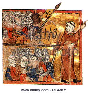 Middle Ages, crusades, First Crusade 1096 - 1099, Peter of Hermit is leading the crusaders to the Holy Land, 1096, print based on miniature, Abreviamen de las Estorias, circa 1350, Additional-Rights-Clearance-Info-Not-Available - Stock Photo
