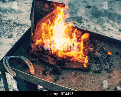 Smith with instruments heating iron in coal fireplace. Traditional production of horse shoes - Stock Photo