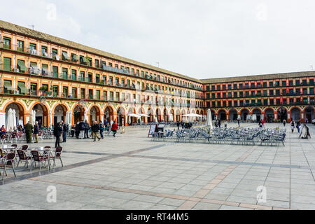 Street view of Plaza de la Corredera in downtown  of Cordoba, Andalusia, Spain. - Stock Photo