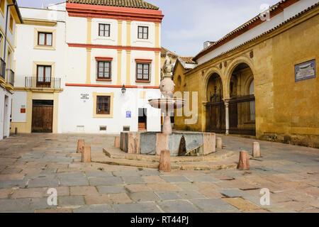 Plaza del Potro and the statue and fountain of a stallion as well Miguel de Cervantes house in the Plaza del Potro in Cordoba - Stock Photo