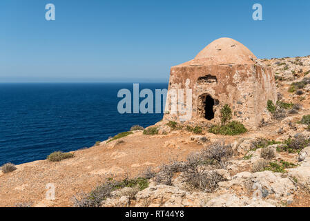 Ruin of ottoman building on Gramvousa - Stock Photo