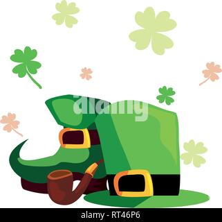hat boot and pipe happy st patricks day vector illustration - Stock Photo