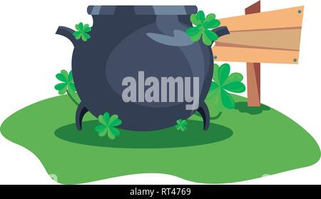 cauldron clovers and wooden sign happy st patricks day vector illustration - Stock Photo