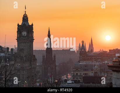 Edinburgh, Scotland, UK. 26 February, 2019. View at sunset over famous Edinburgh skyline from Calton Hill in Edinburgh , Scotland, UK - Stock Photo