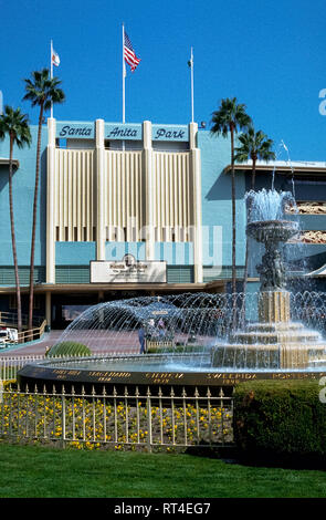 An art-deco facade identifies historic Santa Anita Park, which opened in 1934 in Arcadia near Los Angeles and is the oldest thoroughbred horse racetrack in Southern California, USA. Attendance at the Santa Anita track and the number of races there increased when the other major thoroughbred race course in Los Angeles County, Hollywood Park, closed in 2013 after being in operation since 1938. - Stock Photo