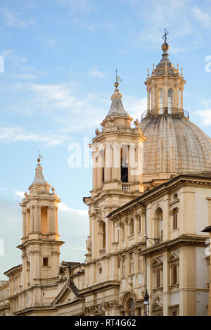 Baroque Church of Saint Agnese or Sant'Agnese in Agone Piazza Navona or Navona Square Old Town or Historic District Rome Italy - Stock Photo