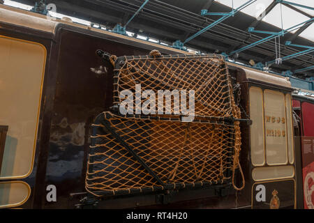 The Bag Exchange Apparatus on a Travelling Post Office (TPO) carriage (1880's-1930's) on display in the National Railway Museum, York, UK. - Stock Photo