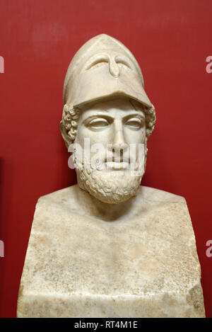 Marble Bust or Portrait of Pericles (495-429BC), Greek General & Statesman (c2nd AD Roman Copy of Greek Original c430BC)) Vatican Museum - Stock Photo