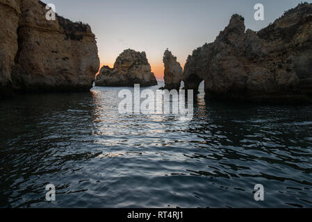Ponta da Piedade or Piety's Point is a rock formation along the coastline of Lagos, in Algarve, Portugal - Stock Photo