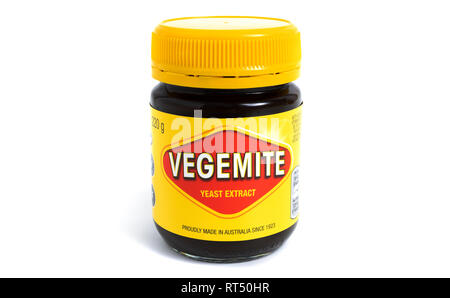 Prague, CZECH REPUBLIC - February 21, 2019: A studio shot of a 220g jar of Vegemite. Vegemite is a very popular yeast based spread in Australia - Stock Photo